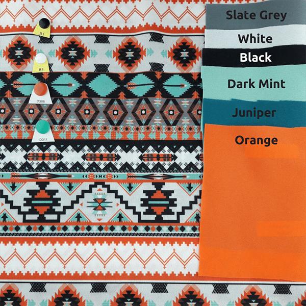 Mint and Orange Aztec pattern
