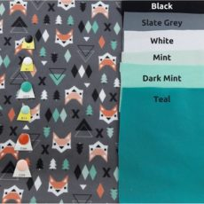 Burnt Orange and Peach Colored Geometric Foxe on Gray background with color choices on each side